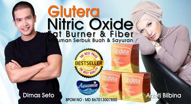 Glutera Nitric Oxide (NO) mengandung 29 buah & sayuran sebagai makanan serat, L-arginine perintis produksi Nitric Oxide & L-carnitine sebagai pembakar