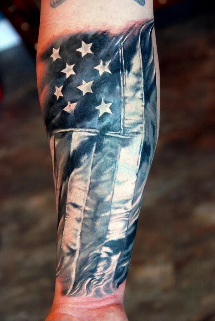 America. Tattoo. Men's. Sleeve. Flag