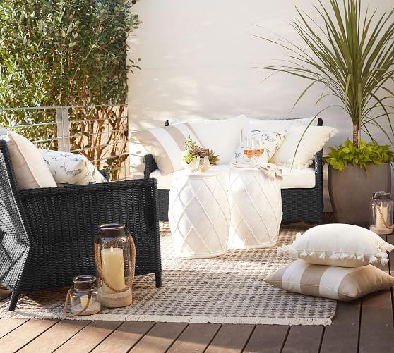 Torrey Patio All-Weather Wicker Sofa, Black