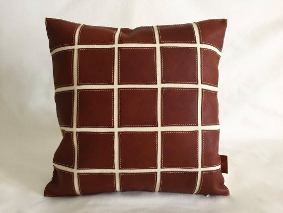 Leather Sectional Sofa Modern Leather Pillow x Brown Leather and Canvas Throw Accent for Home Decor Sofa and Chair Designed by Renaissance Cushions