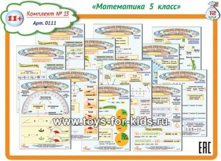 Карточки-памятки по математике для 5 класса, 12 шт. Комплект 13, арт.0111 (sale!)