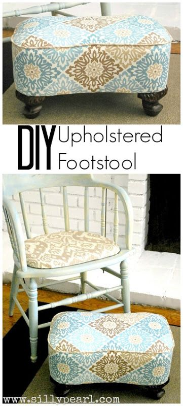 DIY Upholstered Footstool - The Silly Pearl