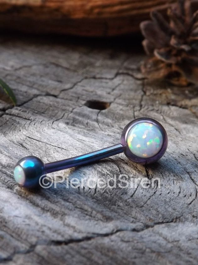 Opal belly button ring 14g white fire opals titanium internally threaded purple teal anodized hypoallergenic vch piercing barbell stone ring