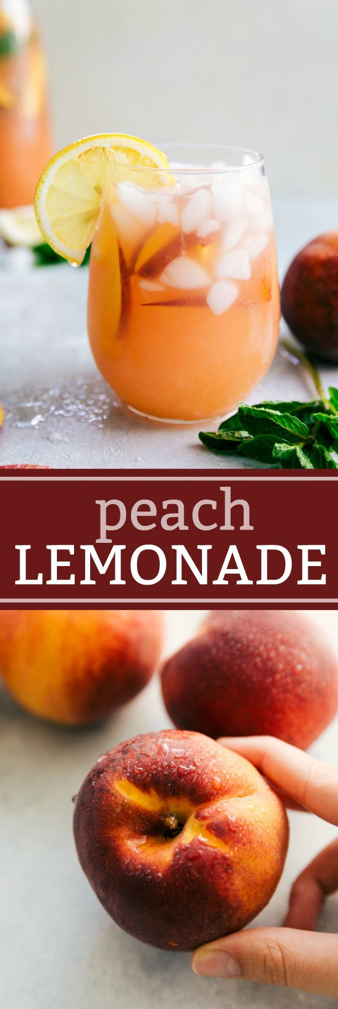 This naturally sweetened and healthier Peach Lemonade is so delicious and refreshing! Plus it's simple to make and stores for up to a week in the fridge!
