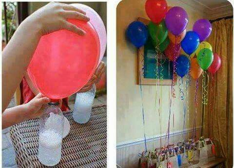 Helium/CO2 using vinegar and baking powder. You will need 1 bottle and a funnel. Using the funnel insert the baking powder into the balloon. Put the balloon over over the bottle. CO2 will start coming as well as bubbles. you might want to do this outside.