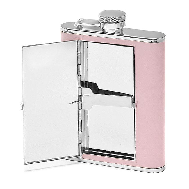 6 Ounce Pink Leather Flask & Cigarette Holder