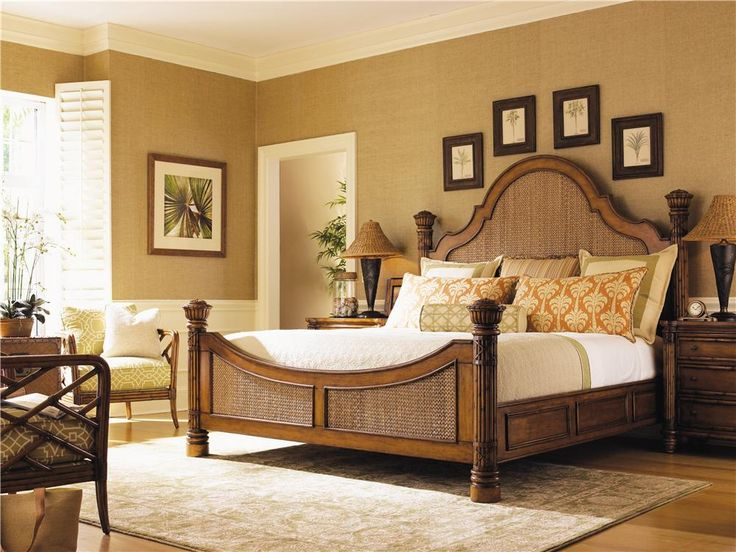 Island Estate Queen Size Round Hill Bed With Woven Panel Inserts By Tommy  Bahama Home