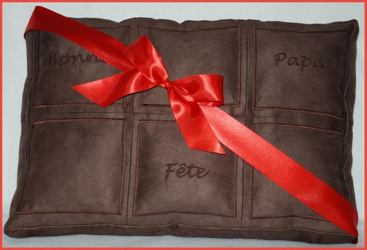 Coussin  tablette chocolat personnalisée \