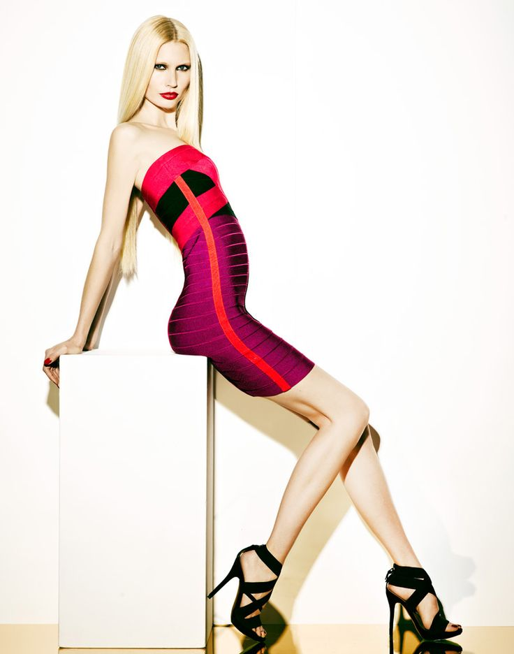 A Colorful Season – Kirsty Hume teams up with photographer Douglas Friedman for the cheeky spring lookbook from Canadian retailer, La Maison Simons. Wearing the standout designs of Alexander McQueen, Herve Leger, Christopher Kane and others; Kirsty wows with a red pout and sleek, straight locks in the colorful images.