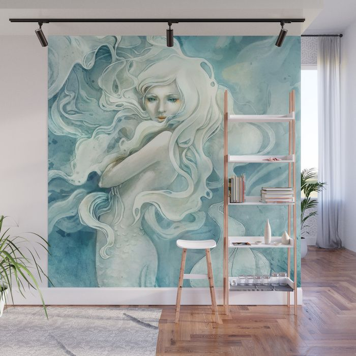 Buy Mermaid Wall Mural by strijkdesign    Fantasy portrait mural  home decor