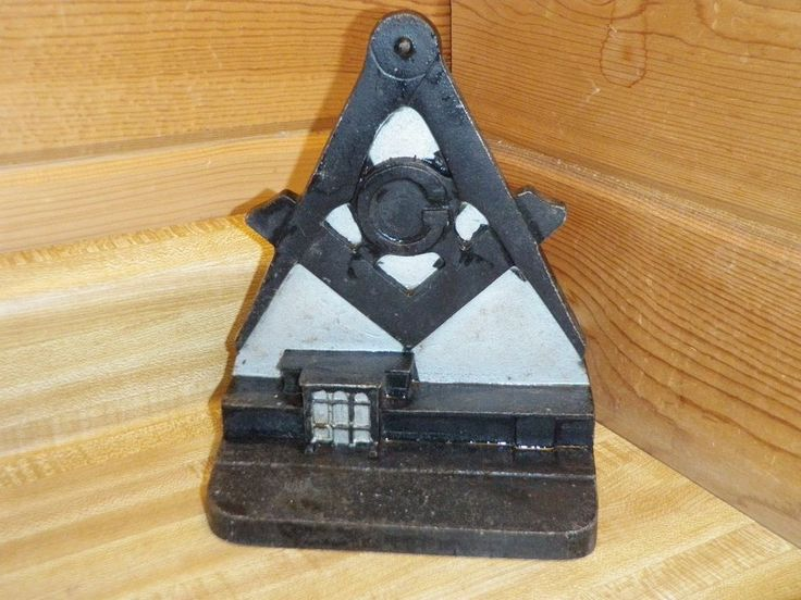 RARE Cast Iron Masonic Dedication New Temple June 7 1963 Freemason Book End