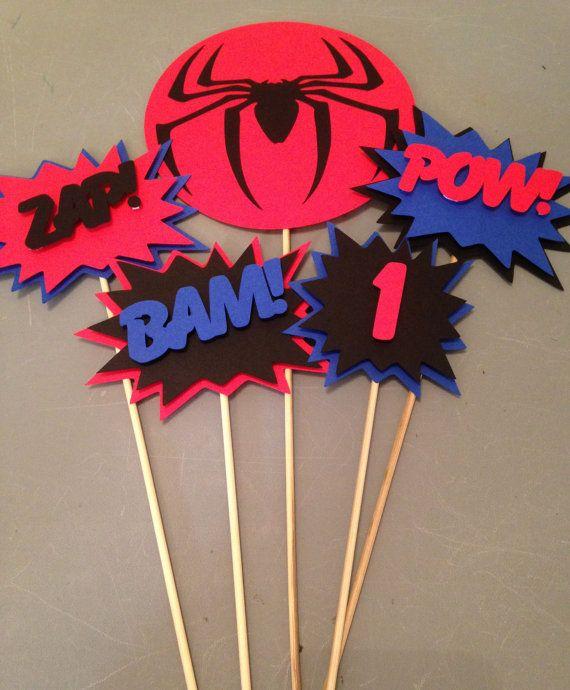 Centro de mesa de Spiderman, 5pc, partido del superhéroe, Spiderman fiesta, fiesta de cumpleaños de Spiderman