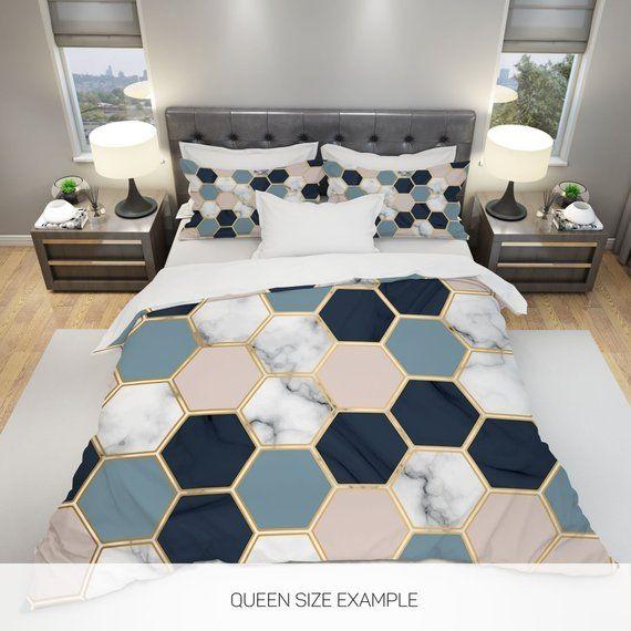 Marble Bedding Marble Duvet Cover Geometric Bedding Hexagon Etsy Geometric Bedding Marble Duvet Cover Duvet Cover Master Bedroom