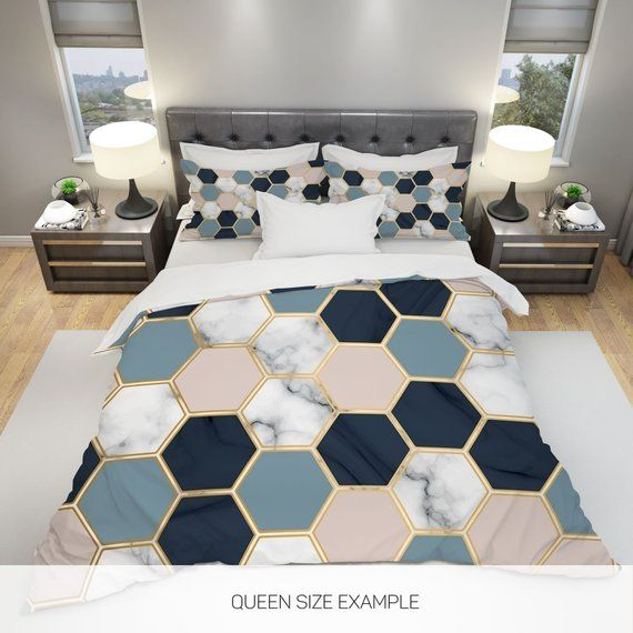 Marble Bedding Marble Duvet Cover Geometric Bedding Hexagon Etsy In 2020 Geometric Bedding Marble Duvet Cover Marble Bedding