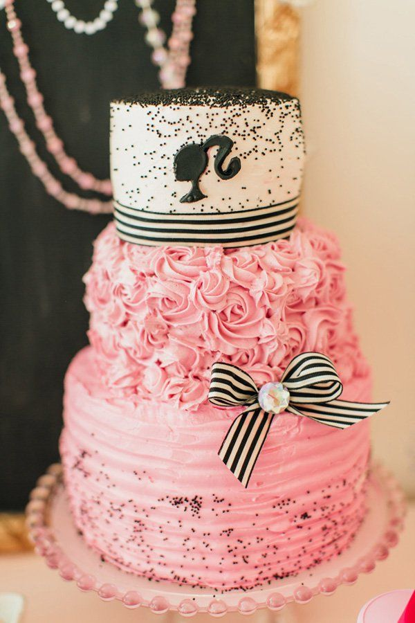 A Glitzy & Glam Barbie Spa Birthday Party: Beautiful cameo birthday cake
