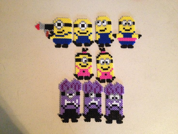 Minions made from Hama Beads, great holiday activity for the kids ...