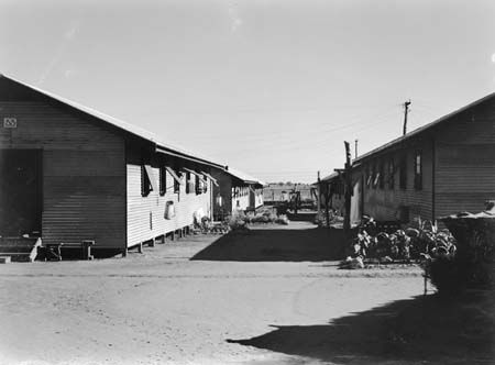 A view between two rows of living quarters at Loveday