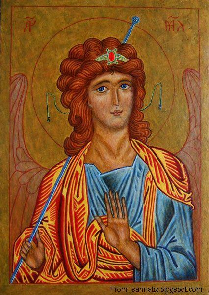 Archangel Michael - egg tempera on wood.