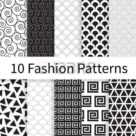 10 Moda geom�trica diferente patrones de vectores sin fisuras. Textura sin fin se puede utilizar para el papel pintado, patrones de relleno, etc. photo