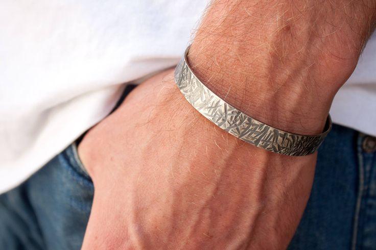 Men Silver Cuff Bracelet, Textured Silver Cuff, Hammered Cuff Bracelet, Mens Metal Bracelets, Silver Bangle Bracelet, Heavy Silver Bracelet by SofiaKov on Etsy https://www.etsy.com/il-en/listing/548182795/men-silver-cuff-bracelet-textured-silver