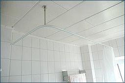Badausstattung Alu Duschvorhangstange Ø 20mm, U-Form, mit Innenlaufrohr Wand oder Decke über 2 Ecken
