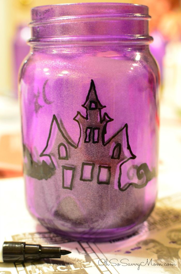 """I searched Pinterest for some great Halloween Craft Idea """"Pinspiration"""". These DIY Upcycled Halloween Village Luminaries were just the kind of craft I was looking for."""