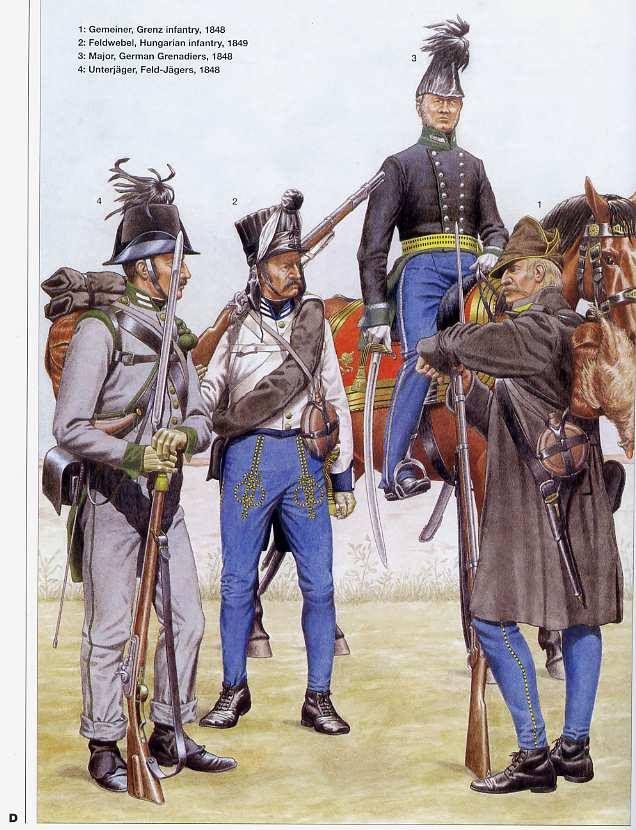 1:Gemeiner,Grenz infantry,1848.2:Feldwebel,Hungarian infantry,1849.3:Major,German Grenadieres,1848.4:Unterjager,Feld-Jagers,1848.