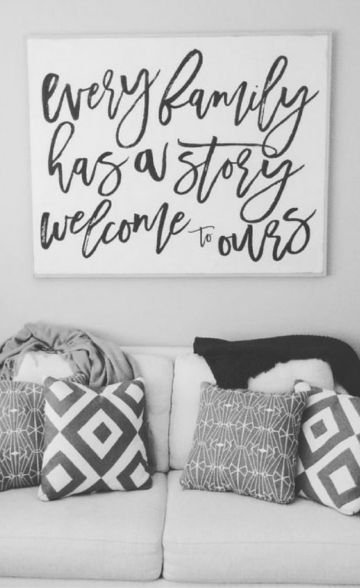 Love this welcoming sign - would be perfect in a gallery wall or stand alone. Every family has a story welcome to ours, Family quote art, Home decor, Family wall art, Rustic decor #ad