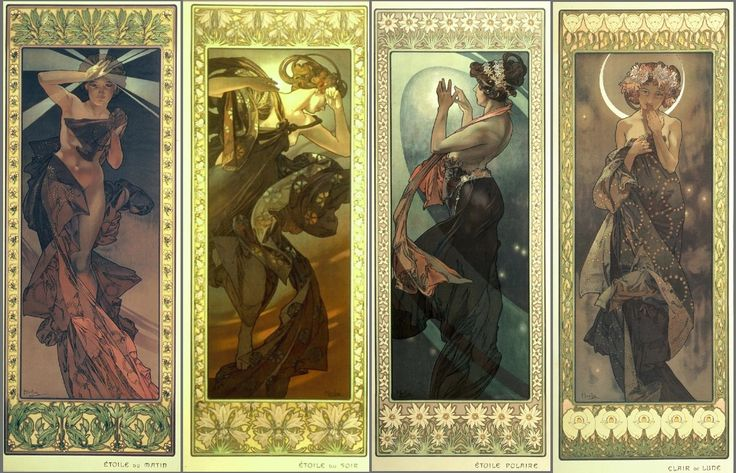 The moon and star by Alfons Mucha - He was a Czech art nouveau painter. He is more famous in the whole Europe than in Czech republic, because he mostly painted in France. I love  that lines which is tipical for Mucha.