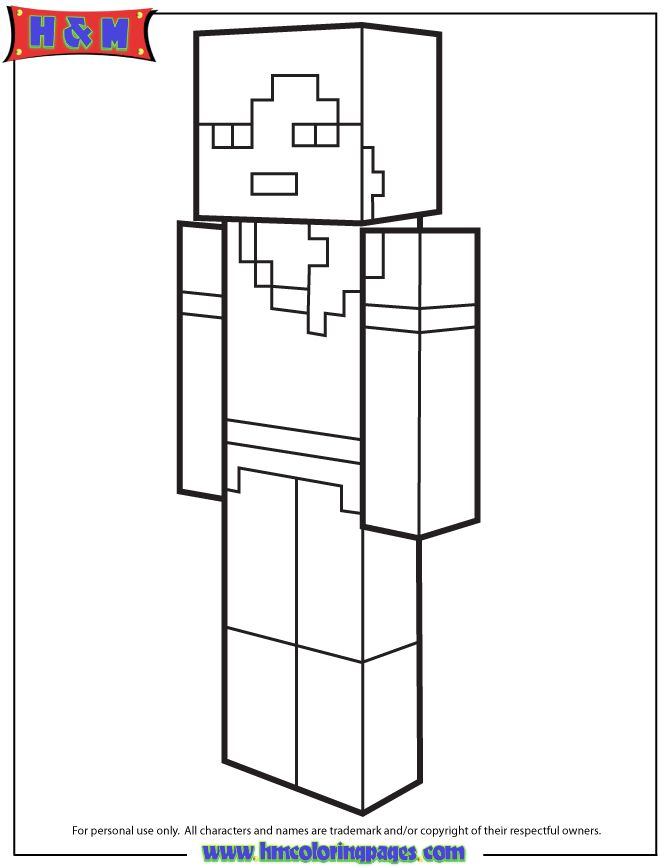 alex from minecraft coloring page
