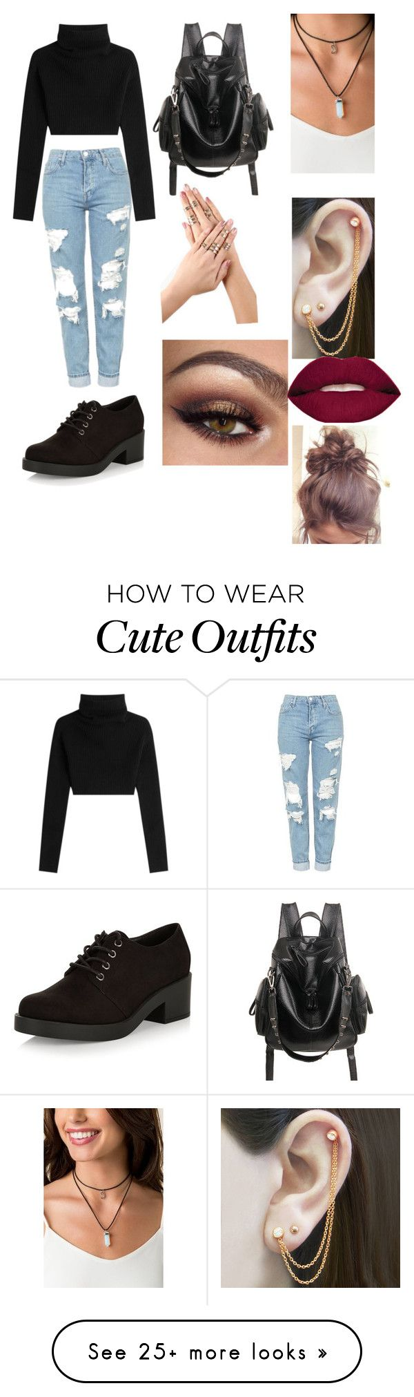 """""""Outfit 66- Autumn"""" by antisocialdemons on Polyvore featuring Valentino, Topshop, New Look, Embers Gemstone Jewellery and Smashbox"""