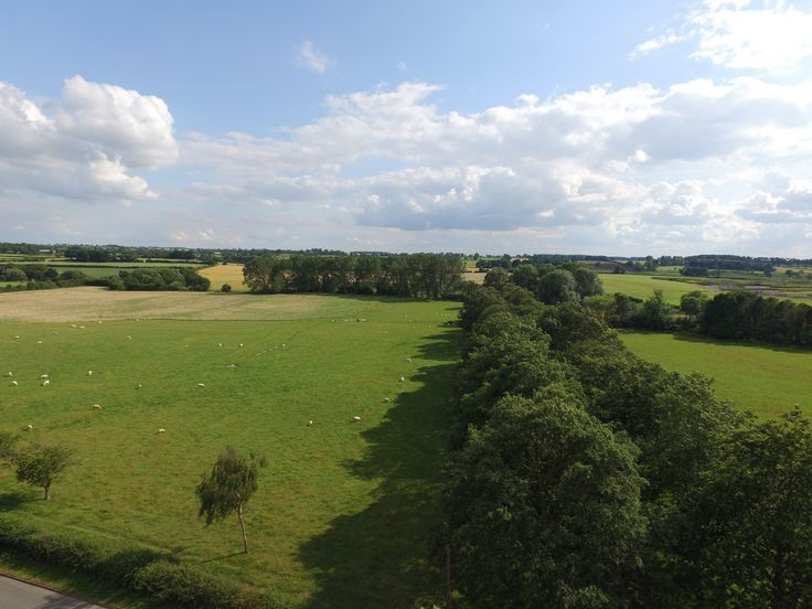 A clear and untouched aerial photograph of Leicestershire's agricultural countryside