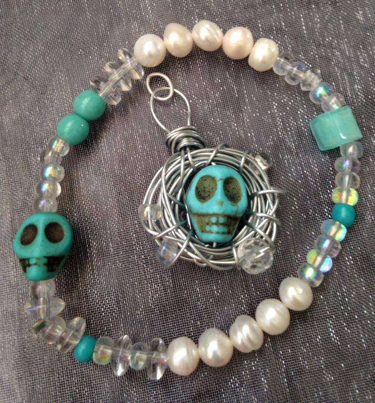 Skull pendant and bracelet