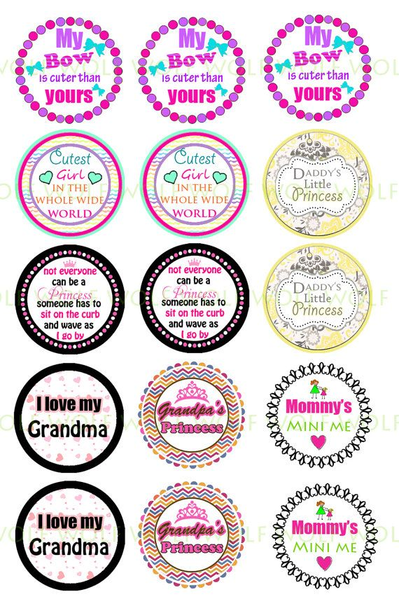"INSTANT DOWNLOAD jpeg Random sayings 1"" Bottle Cap Images 4x6 mom, grandma, grandpa, princess Hair Bow Centers, Stickers,  party decor"