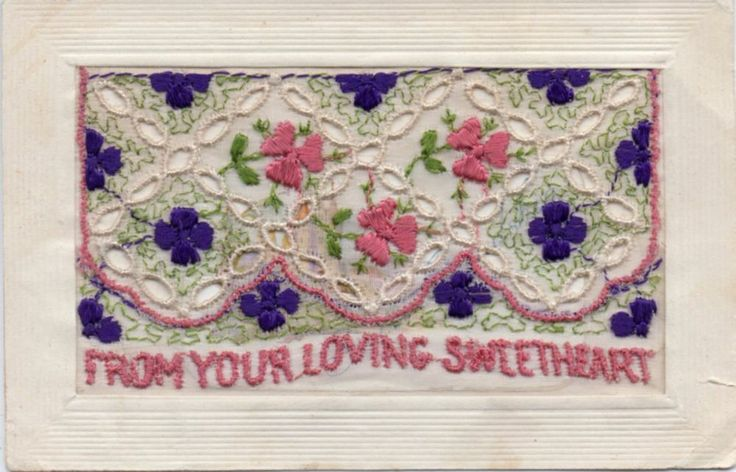 RARE AND UNUSUAL: LACE AND EMBROIDERED SILK GREETINGS POSTCARD