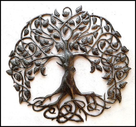 "Decorative Tree Metal Art Wall Hanging - 34"" Handcrafted Haitian Recycled Steel Drum Wall Decor by HaitianMetal on Etsy, $159.95"