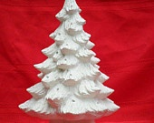 Ceramic unpainted medium Christmas tree with holly leaf base, medium pine tree -13.5 inches with base