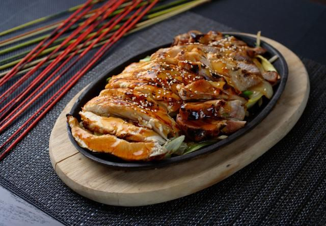 Basic recipe for making Japanese teriyaki chicken on a stove top pan using five simple ingredients for the teriyaki sauce.