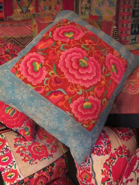 vintage hmong cushion cover by shopgypsyriver on Etsy