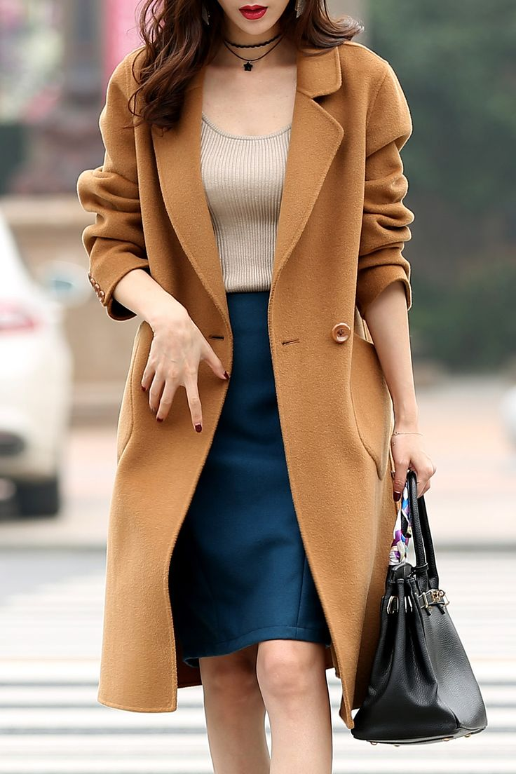 Sailfish Camel Pure Wool Lapel Coat | Coats at DEZZAL