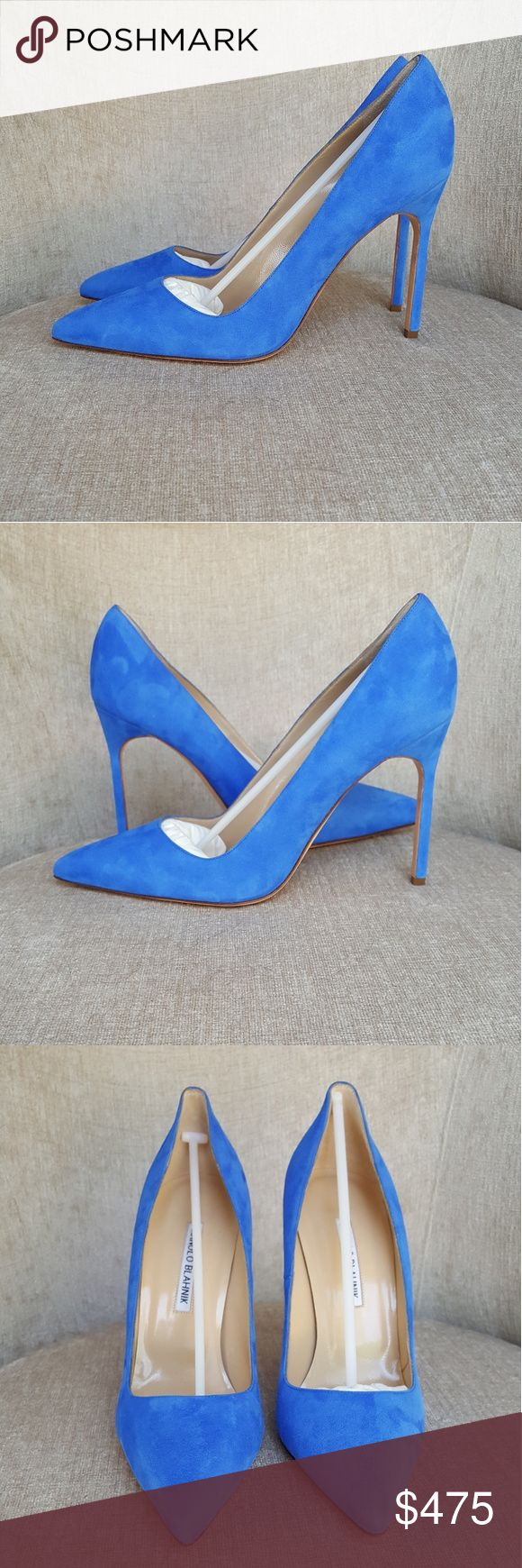 NIB Manolo Blahnik Blue Suede BB Pumps US 10 / Euro 40.  New with box and dustbags.  Heels 4 inches. Manolo Blahnik Shoes Heels