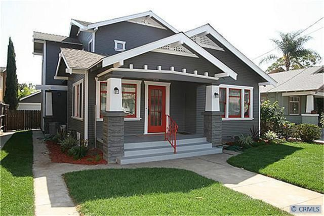 Red And Grey Craftsman Long Beach Complete With Wooden Stove Make Greene Greene