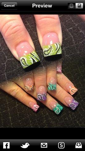 Multi color bandana by Oli123 - Nail Art Gallery nailartgallery.nailsmag.com by Nails Magazine www.nailsmag.com #nailart