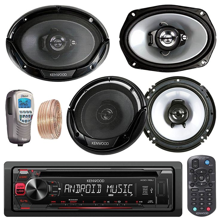 """Kenwood Car In Dash CD MP3 AM/FM AUX USB Radio Stereo Receiver & Remote 2 X 6.5"""" Inch Car Speakers 2 X 6x9"""" 6 by 9 Inch Kenwood Car Speakers + 50Ft Speaker Wire + Handheld Remote (Without Amplifier). PACKAGE BUNDLE KIT INCLUDES: 1 Kenwood KDC115U Car Audio CD Player Radio Receiver = Pair Of Kenwood KFC-1665S 6.5 600W Speaker = Set Of Kenwood KFC-6965S 6 x 9 800W Speaker = 1 Cobra MR-F300BT Waterproof Bluetooth Wireless Handset = 1 Alphasonic PMA4400X 400 Watt Amplifier. STEREO RECEIVER…"""