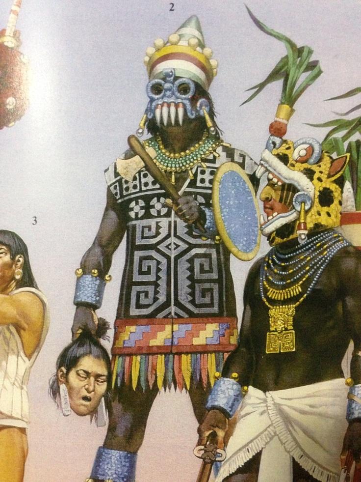 Tlaloc Aztec Priest An Jaguar Warrior Aztecas