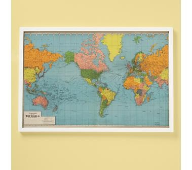 love this map for a playroom wall--educational and fun!  and it doesn't hurt that it plays right into my globe-loving hand...Land of Nod's World Wide Map