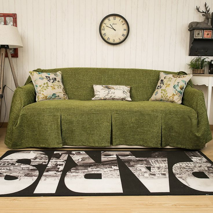 Sofa Throws 1 Piece Heavy Fabric Furniture Protector Slipcover With Pins Customized Dark Green