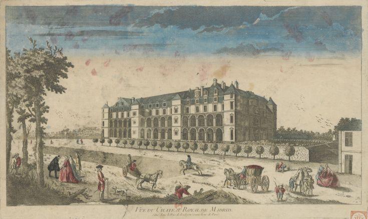 1750 - Vue du Chateau Royal de Madrid situé dans le Bois de Boulogne à une lieue de Paris
