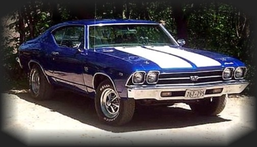 1969 Chevy Chevelle SS much like my Big Brothers car o9nly his was dark green with whit stripes