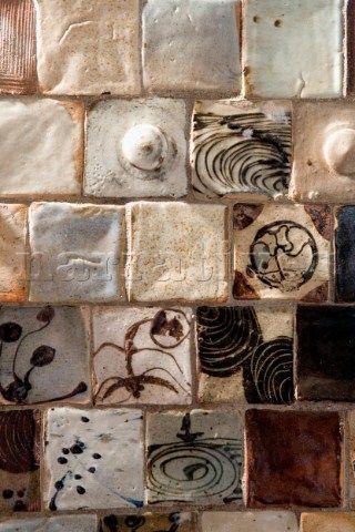 Detail of Period handmade ceramic tiles by Anne Kjaersgaard